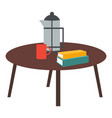 wooden round coffee table red cup teapot vector image