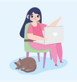 working remotely young woman with laptop sitting vector image vector image