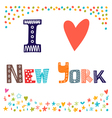 I love New York Cute postcard Greeting card from vector image