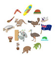 australia icons cartoon vector image vector image