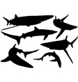 Blue Shark Silhouettes vector image vector image