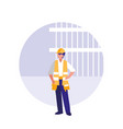 builder man with reflective vest avatar character vector image vector image