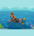 cartoon man in tropical water with scuba vector image vector image