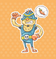 cartoon mexican wrestler vector image