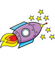 cartoon spaceship and stars vector image