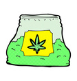 Comic cartoon bag of weed vector image