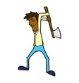 comic cartoon man swinging axe vector image vector image