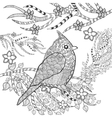Cute bird in flower garden vector image vector image