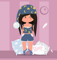 cute girl at a pajama with pillows flat style vector image vector image