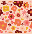 doodle flowers seamless pattern background vector image vector image
