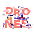 drone mail service concept people control vector image vector image