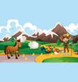 farm animals and farmer scene vector image vector image