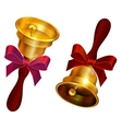 Golden bell with red bow Holiday Last call at vector image vector image
