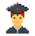 graduation cap student avatar pixel art cartoon vector image vector image