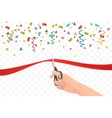 Hand holding scissors and cutting red ribbon on vector image