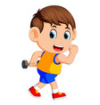 happy boy doing weightlifting vector image vector image