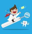 happy male dentist riding a mouth mirror vector image