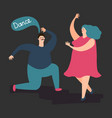 happy plump woman and man dance cute fat vector image vector image