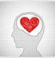 human head with a red heart vector image vector image