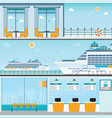 info of cruise ship terminal at sea port with vector image