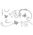 line art set butterfly vignettes vector image