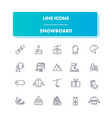 line sport icons set snowboard vector image vector image