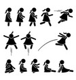 little girl basic action poses stick figure icons vector image