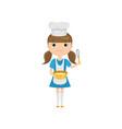 little girl in cook uniform holding utensils vector image vector image