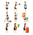 maid posing in different situations set housemaid vector image vector image