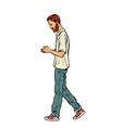 man walking down the street vector image