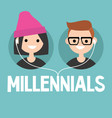 millennials conceptual sign young boy and girl vector image vector image