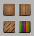 modern wooden icons set on gray background vector image vector image