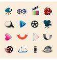 Movie icon set vector image