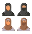 Muslim Woman in Hijab Avatars Set vector image