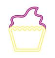 neon glowing sweet cupcake dessert vector image vector image