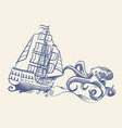 octopus monster sketch sailboat vintage medieval vector image vector image