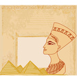 old paper with Egyptian queen vector image vector image