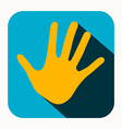 Orange Palm Hand Icon in Blue Rounded Square vector image vector image
