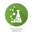 pharmaceutical engineering green flat design long vector image vector image