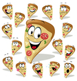 pizza cartoon with many expressions vector image vector image
