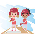 pretty woman athlete playing baseball vector image vector image