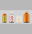 realistic pills bottles drugs medications vector image vector image
