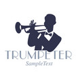 retro style emblem of trumpeter silhouette jazz vector image