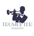 retro style emblem trumpeter silhouette jazz vector image