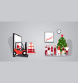 santa driving forklift with gift boxes from vector image vector image