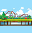 scene background design with rides at circus vector image vector image