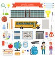 school student stationery supplies set vector image vector image