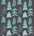 seamless pattern with winter fir forest vector image