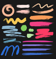 set of brush stroke colorful ink grunge brush vector image vector image