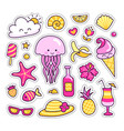 set of colorful summer stickers patches badges vector image